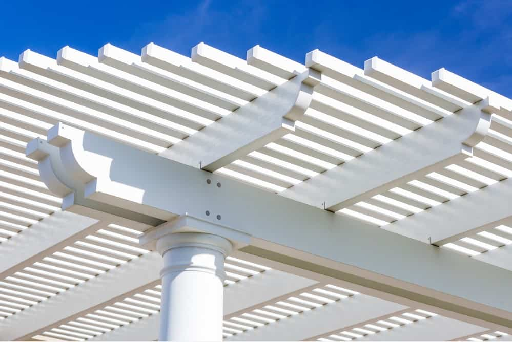 Beautiful House Patio Cover Against the Blue Sky